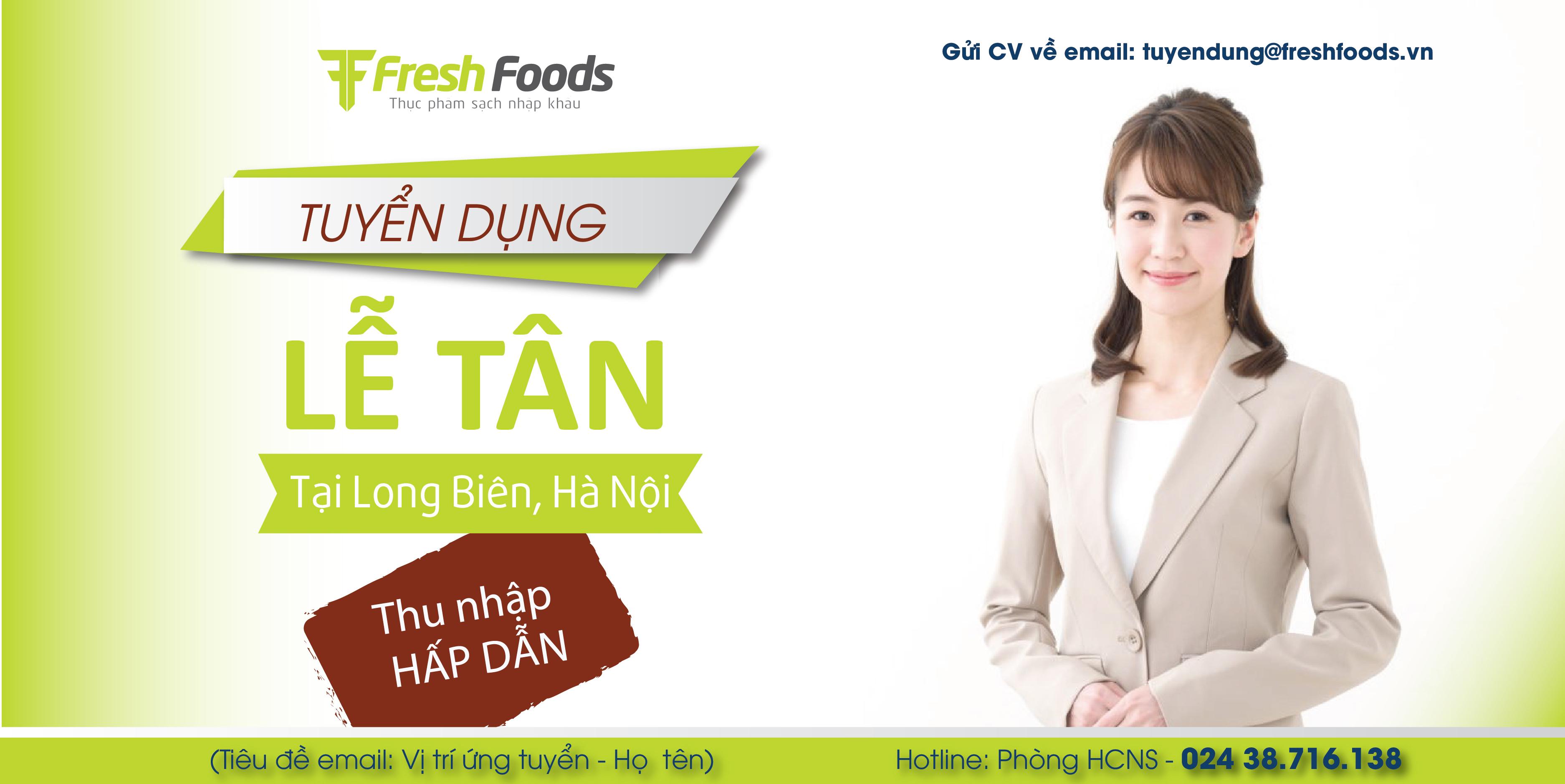 Hà Nội - Long Biên: Nhân viên lễ tân kiêm bán hàng